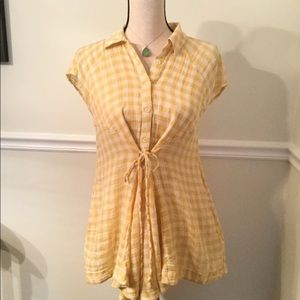 Free People Yellow Gingham Cotton Tunic